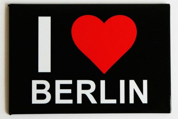 """Fotomagnet in schwarz """"I heart Berlin"""" 8x5,5cm"""
