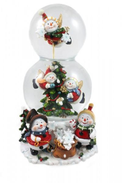 Spieluhr Weihnachten.Doppelte Schneekugel ø 80mm 100mm Mit Spieluhr Schneemänner 20cm