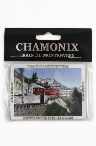"""Magnet """"Train du Montenvers"""" Chamonix, silber geprägt und glitzernd 7.5*5.5cm"""