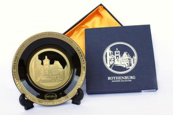 """15cm Teller """"Rothenburg"""" schwarz-gold, inkl. Ständer"""